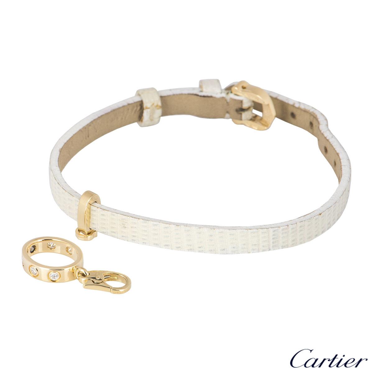 Cartier Rose Gold Diamond Love Charm Leather Bracelet